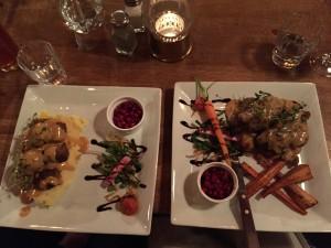 Magnus Ladulas dinner; Elk and deer meatballs and Venison Tenderloin